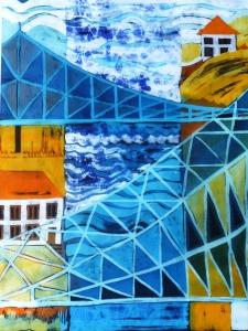C Dresden-Das blaue Wunder, Batik auf Baumwolle, 48x70 cm